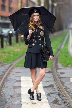 Chiara Ferragni - <3 this college style with jacket and corolla dress plus a chanel bag - milano fashion week F/W 14- street style