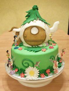 "green tinkerbell fairy cake   Tinkerbell's Teapot House Cake"" - 1/12"