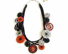 Statement Fabric Necklace Unique Textile Necklace Black White Orange Polka Dot Necklace Statement Jewelry Fabric Jewelry