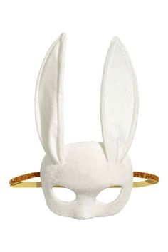 Soft, molded masquerade mask in felt with a velvet front, long rabbit ears at top, and a glittery elastic strap at back. Width 7 in. Masquerade Halloween Costumes, White Halloween Costumes, Hallowen Costume, Fancy Costumes, White Costumes, Costume Ideas, Halloween Makeup, Halloween Party, Kitten Costumes