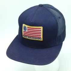 Element Keep Discovering Patriotic American Flag Logo Snapback Mesh Trucker Hat Cap Navy Blue