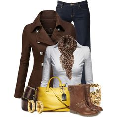 Yellow & Brown, created by colierollers on Polyvore