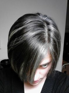 her Black and grey hair- - cool transitioning streaks
