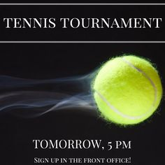 Sign up for our tennis tournament tomorrow at 5 PM! See if you can test your skills and WIN! #tennis #signuptoday