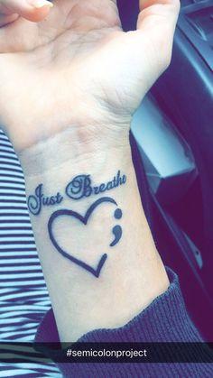 Just breathe semi colon tattoo project Dope Tattoos, Mini Tattoos, Wrist Tattoos, Finger Tattoos, Body Art Tattoos, Tatoos, Tattoos For Women On Thigh, Tattoos For Women Small, Small Tattoos