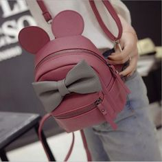 Female Bag PU Leather Women Bag Mickey Ears Sweet Bow School Backpacks For Teenage Girls Mini Backpack Rugzak