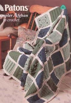 Sampler afghan shows off fun and interesting crochet stitches. Shown in Patons Decor.