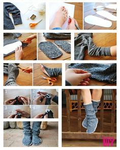 Make Sweater Socks Out Of Old Thick Sweaters (Or at least leg leg warmers/boot socks out of the arms!)   Cold Weather Hacks to Keep You Cozy This Winter