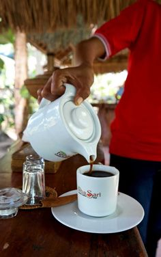 trying civet coffee in Bali