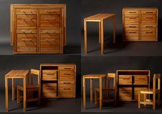 Do designer uruguaio Claudio Sibille, móvel ocupa pouco espaço na casa. As duas cadeiras e a mesa ficam embutidas no móvel .