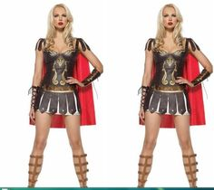 Halloween Gladiator Costumes Leather Game Dress Greek Goddess Party Dress