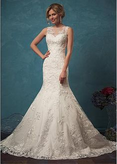 Alluring Tulle Jewel Neckline Mermaid Wedding Dress With Lace Appliques