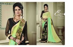 http://www.thatsend.com/shopping/lp/fvp/TESG202568/i/TE265626/iu/green-georgette-designer-saree  Green Georgette Designer Saree Apparel Pattern Embroidered. Work Embroidery, Border Lace. Blouse Piece Yes. Occasion Ceremonial, Festive. Top Color Black.