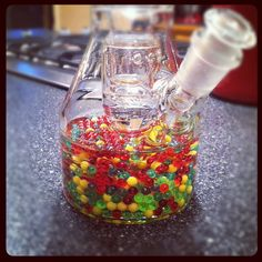 Rasta Diffuser Beads give super smooth bong hits in beaker bottoms. HiSi bongs rule. #Bong #Pipe #Waterpipe #Stoner #Pot #Weed #Glasspipe #Teagardins #SmokeShop http://Teagardins.com