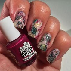 Fall inspired nail art by @manisbymalin on Instagram. She's used Messy Mansion Nail Stamping Plate MM57