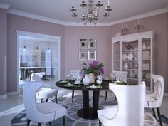 Interior Design, Concrete Lamp Painting Dinning Room Pendant Candle Glass Cabinet Brown Round Dinning Table White Dinning Chair Flower Vase Round Carpet And Wooden Floor ~ Comfortable Home Interior Design: Decorate Your Ceiling with Lighting
