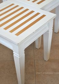 DIY Gold Striped End Tables