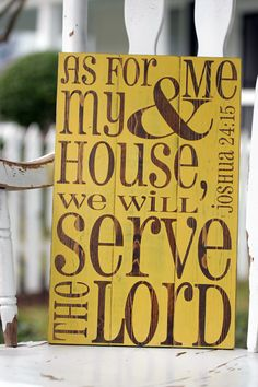 "As for me and my house we will serve the Lord, Joshua 24, Hand painted wood sign, Scripture wall art, Bible verse sign, Measures 10.5"" x 16"""
