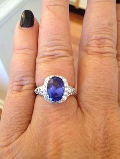 Wow, that's a Beautiful Tanzanite! Tanzanite & Diamond Ring from Nancy & Co. Fine Jewelers.