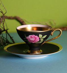 Antique Mocha cup Marita, pink rose on black w/ gold trim