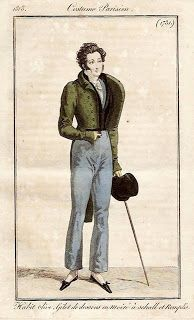 Costume Parisien 1818 via Serendipitous Stitchery: A study on Empire coats from 1810-1830, with a note on researching