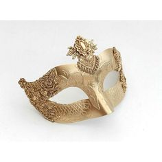 Baroque style gold filigree masquerade mask 2c ❤ liked on Polyvore