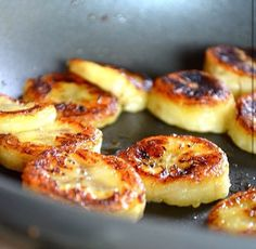 Fried honey banana  Serves 1  Ingredients: 1 banana, sliced  1 tbs honey  Cinnamon  Olive oil or coconut oil  Instructions: Lightly drizzle oil in a skillet over medium heat  Arrange banana slices around pan, cooking for 1-2 minutes on each side  Meanwhile whisk honey and 1 tbs of water  Remove pan from heat and pour honey mixture over banana  Allow to cool and sprinkle with cinnamon