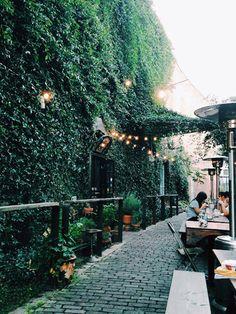 green wall / lantern / passage / lounging