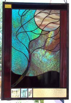 READY TO SHIP  Flowing Tree in Moonlight Stained Glass Window  Panel