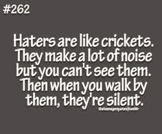 simile for haters= crickets