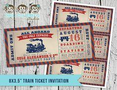 Vintage Train Ticket Invitation.