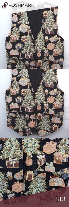 """Ugly Christmas Tacky Vest Trees Presents Womens Christmas themed vest for the holidays, from MLNY. 100% cotton Women's Size Medium Armpit to armpit 18.5"""" Length 19"""" Good condition, some general wear. A few thread pulls. Missing a button. Small spots Inventory: BA Other"""