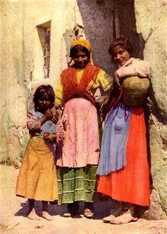 Tinted vintage photo of Spanish gypsy girls