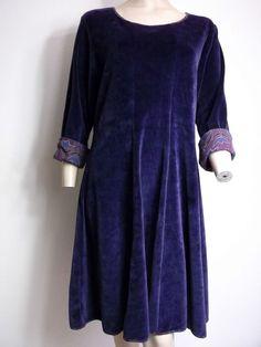 GUDRUN SJODEN Velvet DRESS Size L Large UK 12 - 14 Purple Eco Dresser, Folk, Velvet, Purple, Pretty, Stuff To Buy, Ebay, Beautiful, Clothes