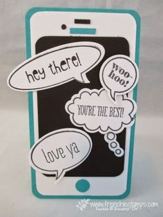 Word bubble,  IPhone Card perfect for teenager. Frenchiestamps.com