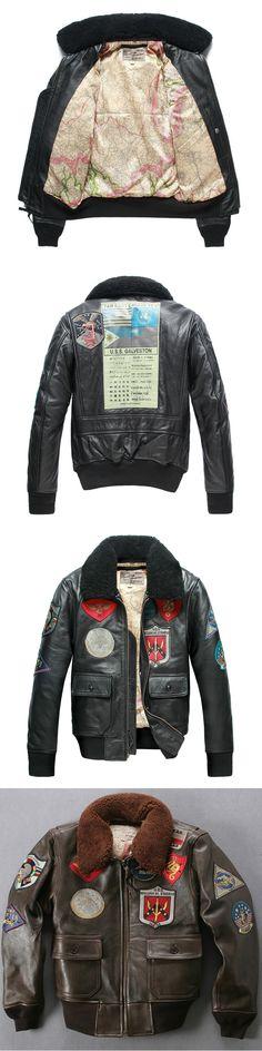 Avirex fly fur collar genuine leather jacket men brown thick sheepskin flight jacket black men's winter leather coat pilot suit