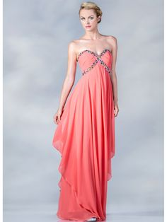 Coral dress with rainbow beads. So pretty!