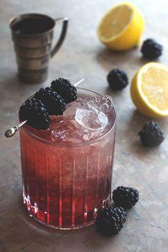 the bramble: blackberries, lemon juice + gin.