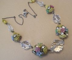 Czech Sterling Silver Crystal Lucite Bead Flower Necklace 1930 | eBay