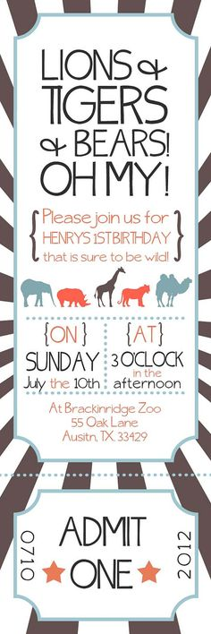Zoo Ticket Birthday Party Invitation by withlovegreetings on Etsy, $15.00