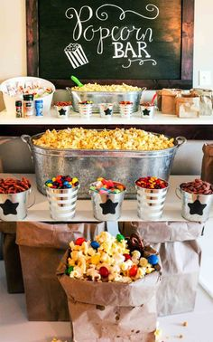 Movie Night Popcorn Bar and a Giveaway! · Happily Hughes Movie Night Popcorn Bar and a Giveaway! Backyard Movie Nights, Outdoor Movie Nights, Backyard Movie Party, Outdoor Movie Party, Backyard Bar, Indoor Movie Night, Movie Night For Kids, Backyard Ideas, Soirée Pyjama Party
