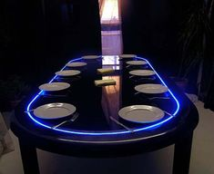 Impressive Modern Dining Table Japan Arrangement : Stunning Modern Dining Table Japan Design Blue LED Lighting