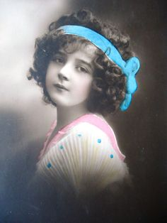 Antique french postcard - Little girl portrait, hair ribbon, hand tinted, real…
