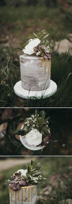 Grey, purple, and gold wedding cake | Image by Kelley Deal Photography