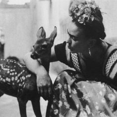 a fawn, I want a deer fir me! <3 (Frida Kahlo's and her pet Granizo)