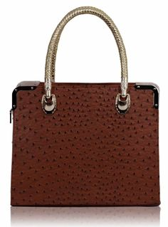 Brown Ostrich Doctor Style Tote Bag