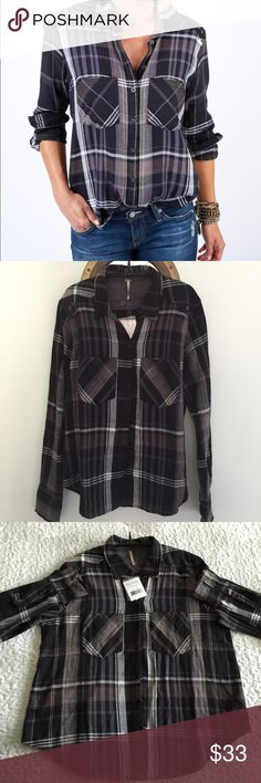 "NWT-Free People Wesley Plaid 🌹Reposh🌹  Sadly, too large.  And, yes, I did ask for measurements before purchasing, but thought I could make it work.  Photo #1is stock photo to see fit.  Selling for less than purchase price.  Approximate measurements (flat):  bust: 21"", bottom: 22"" Free People Tops Button Down Shirts"