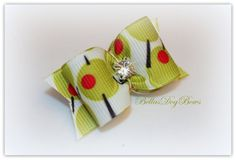 Martini Olive Print Bow with Matching Flags by BellasDogBows, $5.50