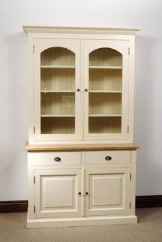 Mottisfont Painted Colchester Dresser (Blue, A Made to Order Pine dresser with two glazed doors with three shelves, two drawers and two cupboards. Available painted in cream, white, blue or green with choice of wooden knobs or metal handles. Als http://www.MightGet.com/january-2017-13/unbranded-mottisfont-painted-colchester-dresser-blue-.asp