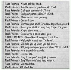 Fake friends versus Real friends